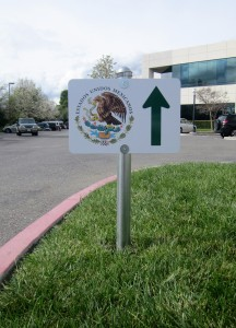Directional Post and Panel Sign - Mexican Consulate
