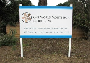 Simple School Sign - One World Montessori